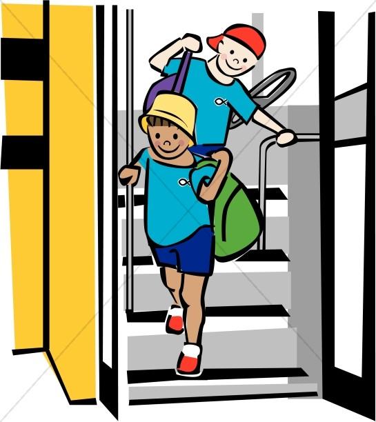 Happy Kids Leaving Schoolbus