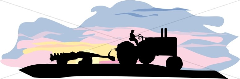 Harvesting Tractor Silhouette
