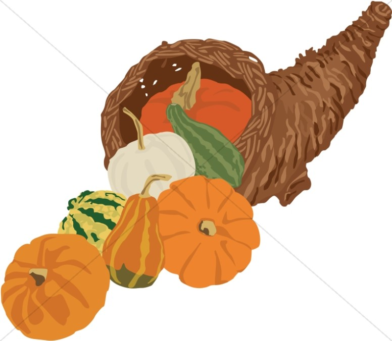 Cornucopia with Pumpkins and Gourds