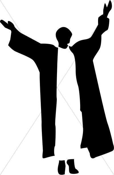 Robed Figure in Black and White