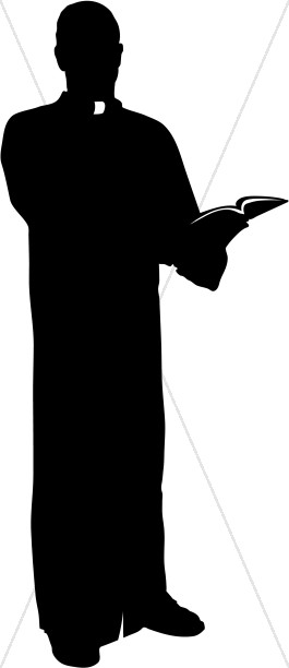 Catholic Priest Silhouette with Bible