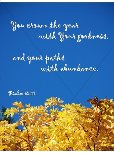 Gold Leaves and Sky with Psalms Verse