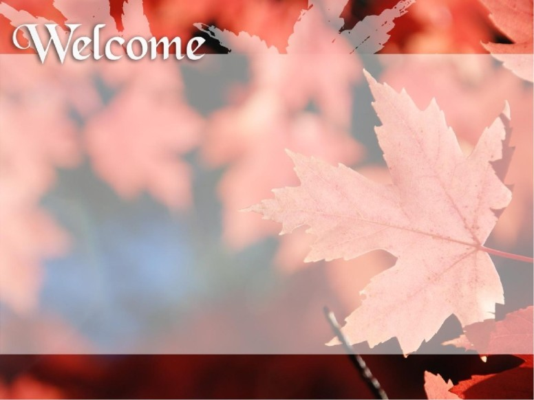 Welcome with Red Leaves and Text Box