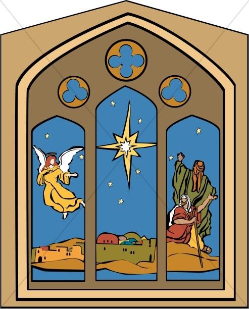 Nativity Window with Star, Angel and Shepherds