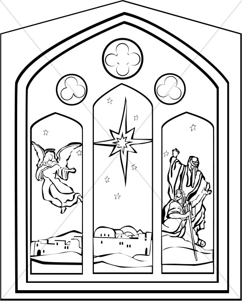 Black and White Nativity Window with Star