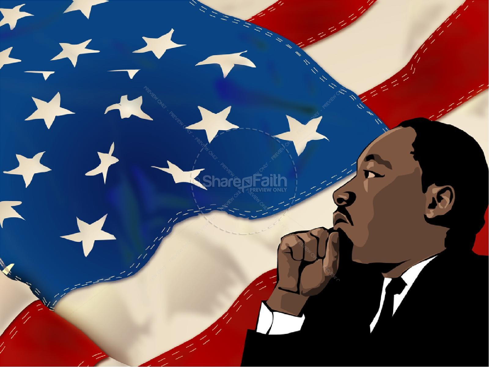 martin luther king and american flag