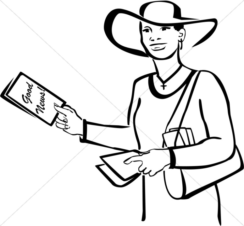 Christian Woman With Tract Church People Clipart