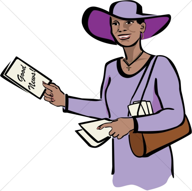 Christian Woman In Purple With Tracts Church People Clipart
