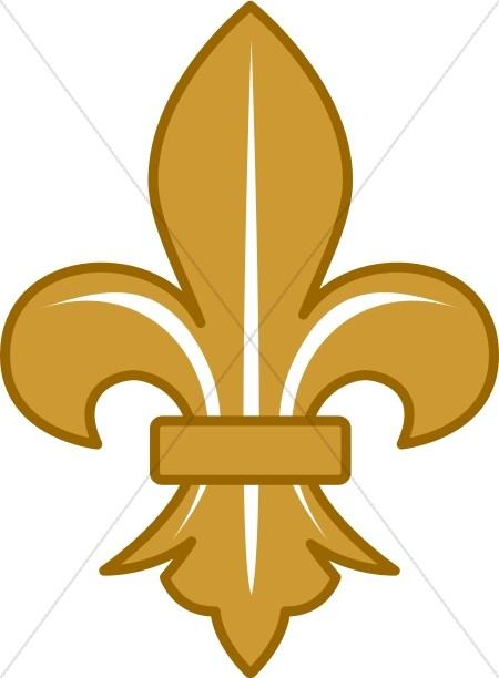 Gold Fleur de lis with White Lines