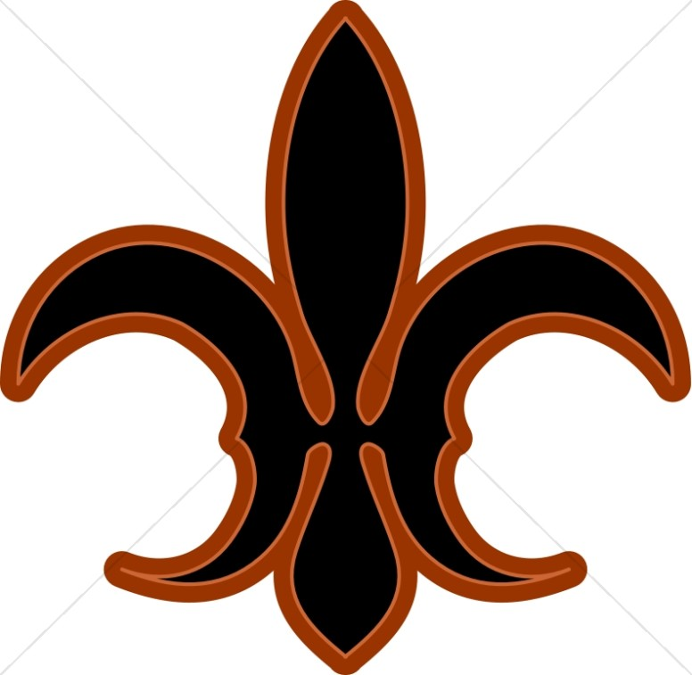 Black and Brown Fleur de lis
