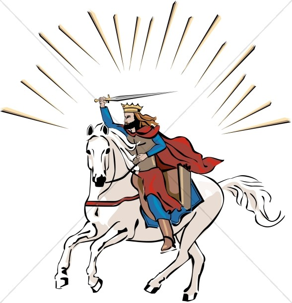 White Horse Rider in Color | Jesus Clipart