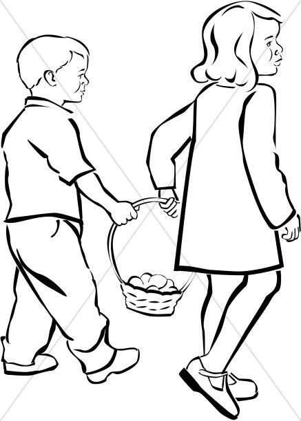 Kids Holding Easter Basket in Black and White