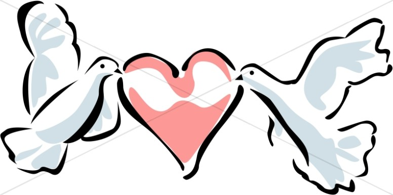Two Doves Carrying a Heart