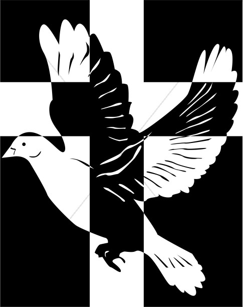 Dove with White Cross on Black