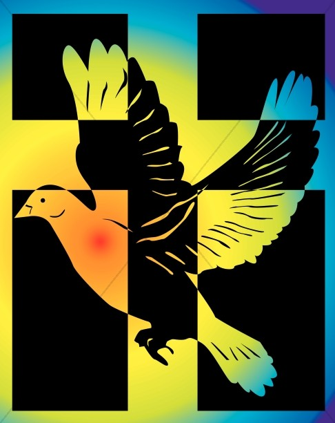 Rainbow Dove with a Cross