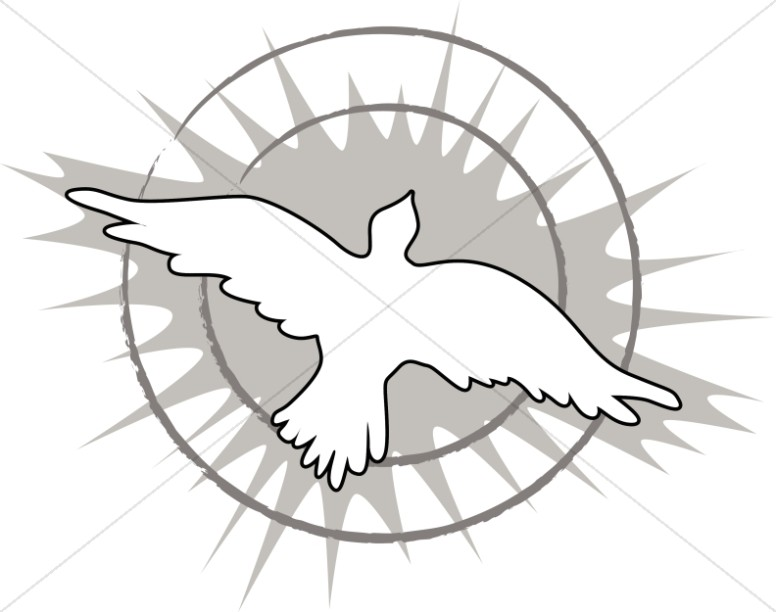 Soaring Dove with Rays in Black and White