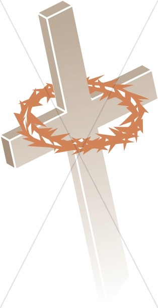 Light Brown Cross and Crown of Thorns