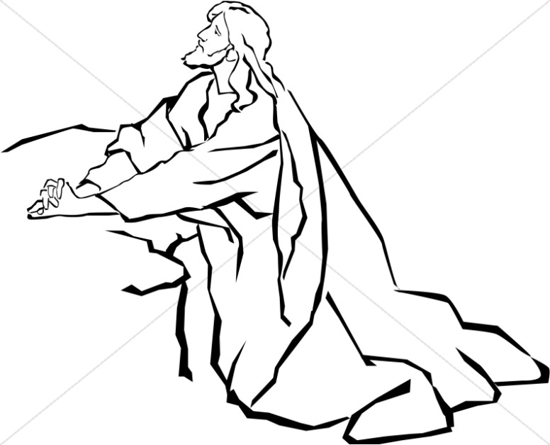 Line Drawing Of Jesus Face : Jesus in the garden of gethsemane black and white
