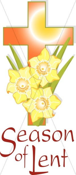 Orange Cross and Yellow Flowers for Lent