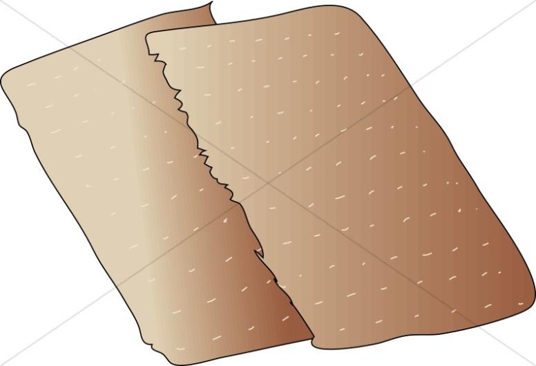 Unleavened Bread Broken in Half