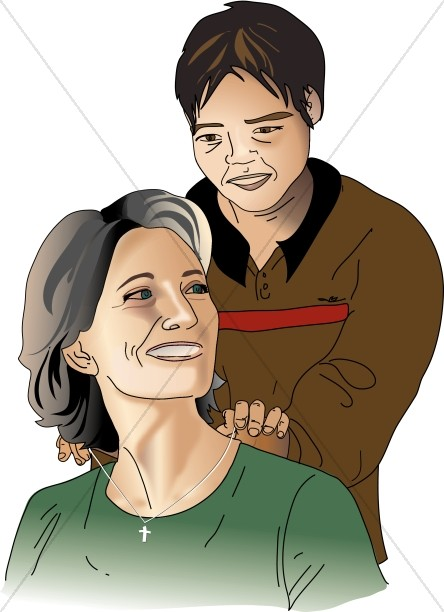 Son Putting Necklace on Mother