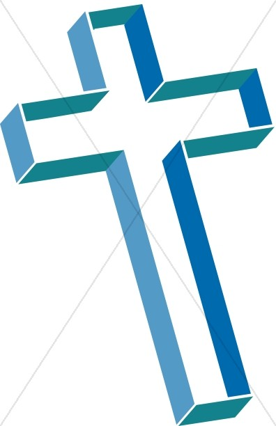 Multilevel Cross with Shades of Blue