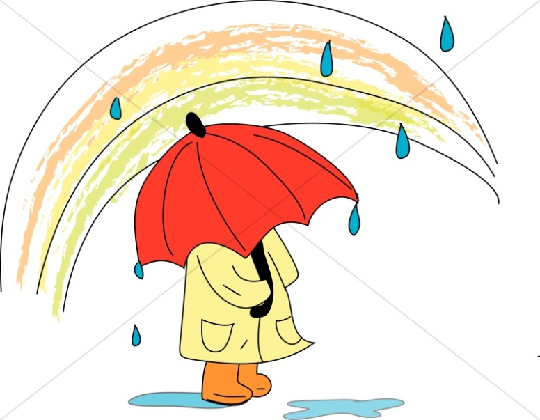 Child with Umbrella Under a Rainbow