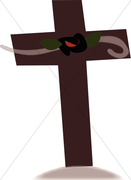 Brown Cross with Red Flower