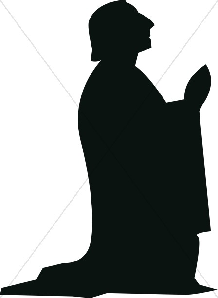 Kneeling Silhouette Male in Prayer