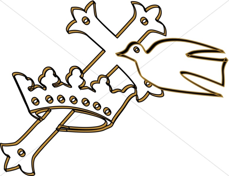 Cross in a Crown with Dove