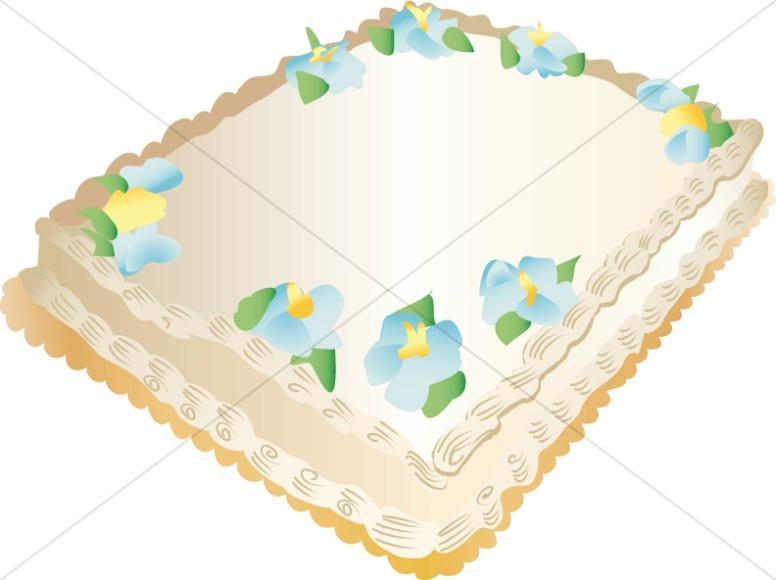 Sheet Cake with Blue Flowers