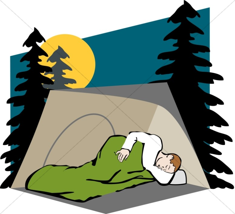 Camper in Tent and Sleeping Bag