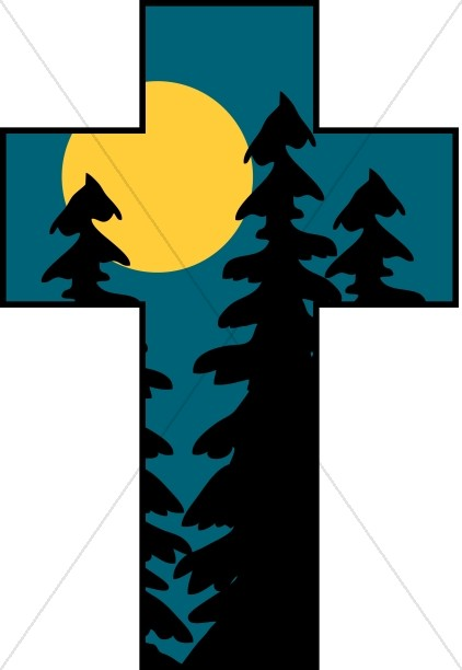 Cross with Trees and Moon
