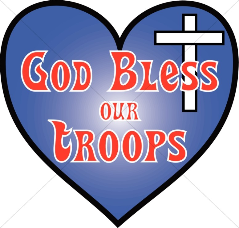 Heart with God Bless Our Troops