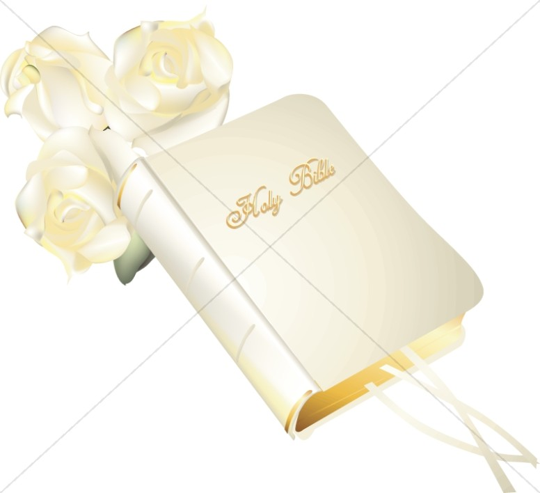 White Holy Bible and Roses