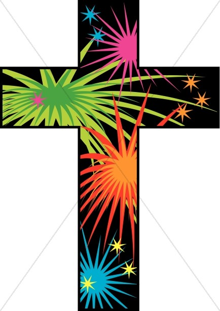 Cross with Fireworks