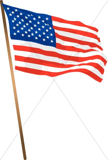 American Flag with a Pole