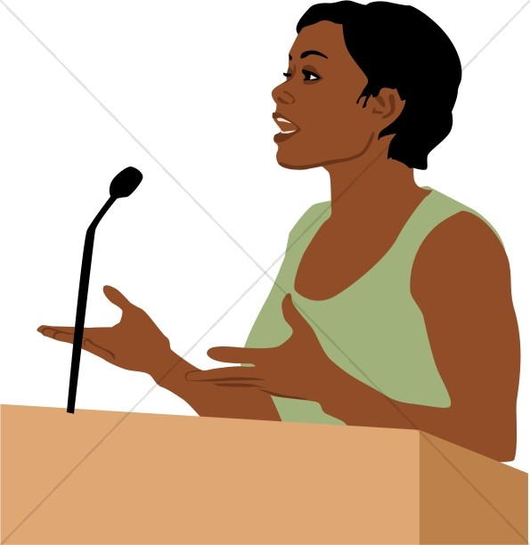 Female African American Speaker | Church People Clipart
