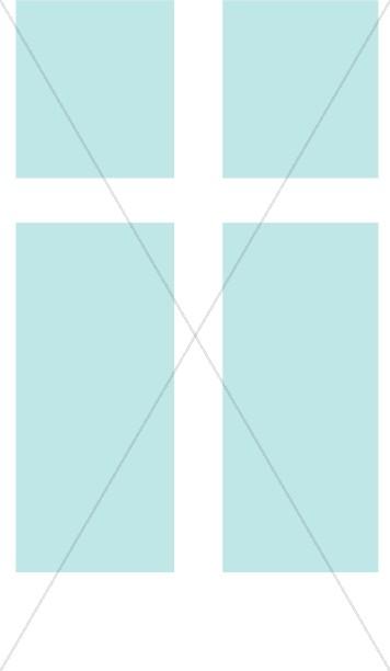 White Cross on Light Blue