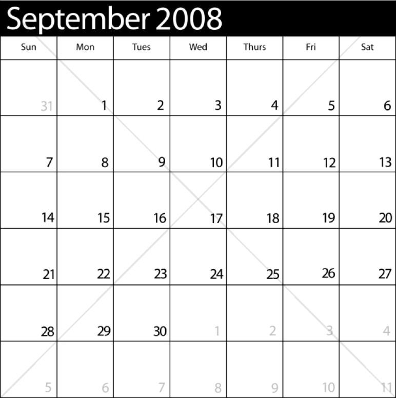 September 2008 Monthly Calendar