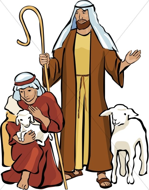 Two Shepherds and Two Lambs