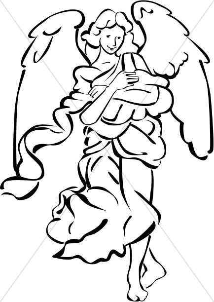 Nativity Angel in Black and White