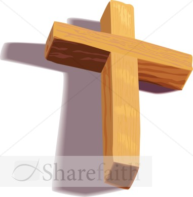 Wooden 3D Cross with Shadow   Cross Clipart