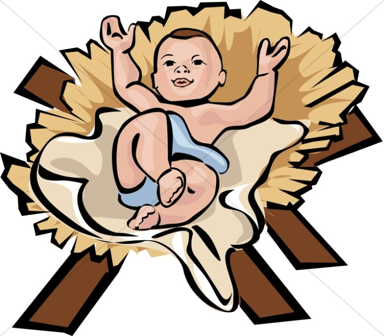 contented baby jesus in color nativity clipart rh sharefaith com baby jesus manger free clipart cartoon baby jesus clipart