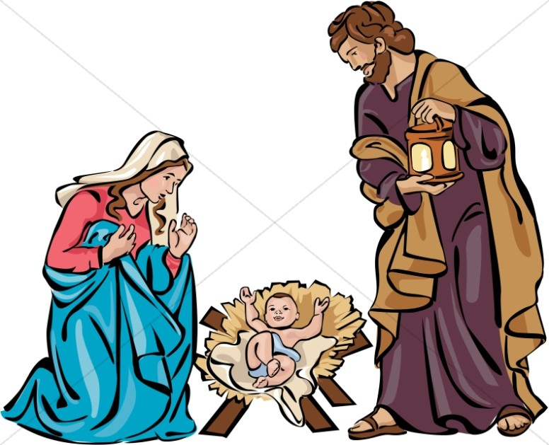 holy family nativity in color nativity clipart rh sharefaith com silhouette manger scene clipart manger scene clip art christmas