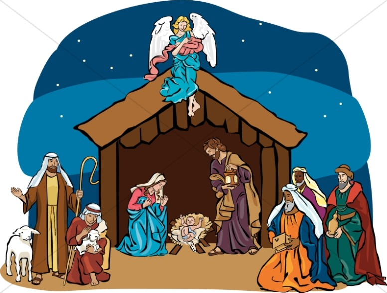 nativity scene with angel overhead nativity clipart rh sharefaith com manger scene clip art christmas christmas manger scene clipart