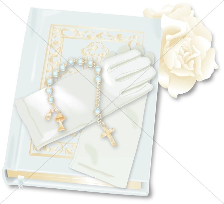 First Communion Bible and Gloves Clipart