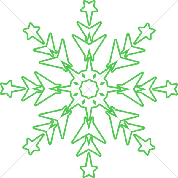 Green Snowflake Clipart