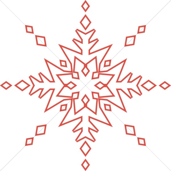 Red Line Art Snowflake