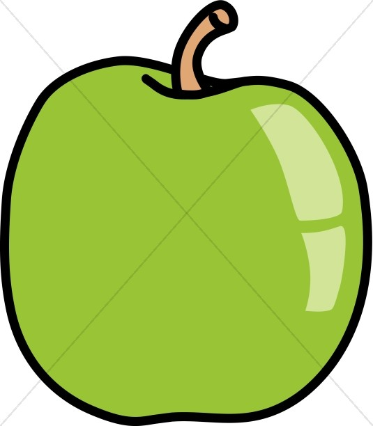 Green Shiny Apple Clipart
